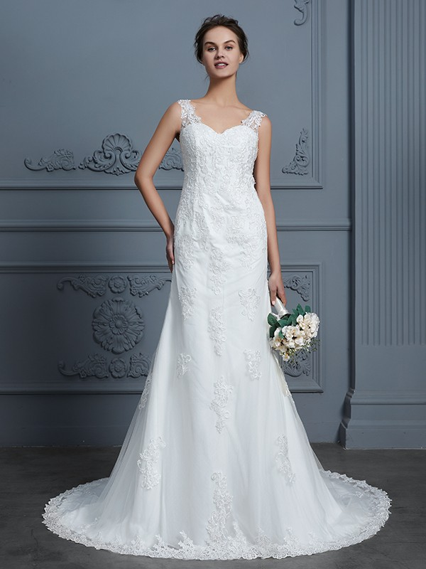 New Mermaid V-neck Sleeveless Lace Court Train Tulle Wedding Dress