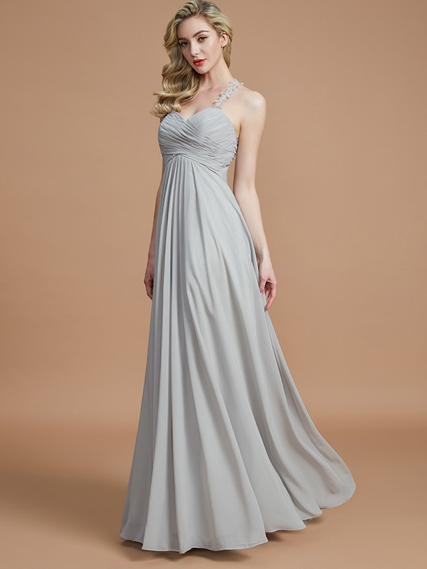 Gorgeous A-Line Sweetheart Sleeveless Floor-Length Chiffon Bridesmaid Dress