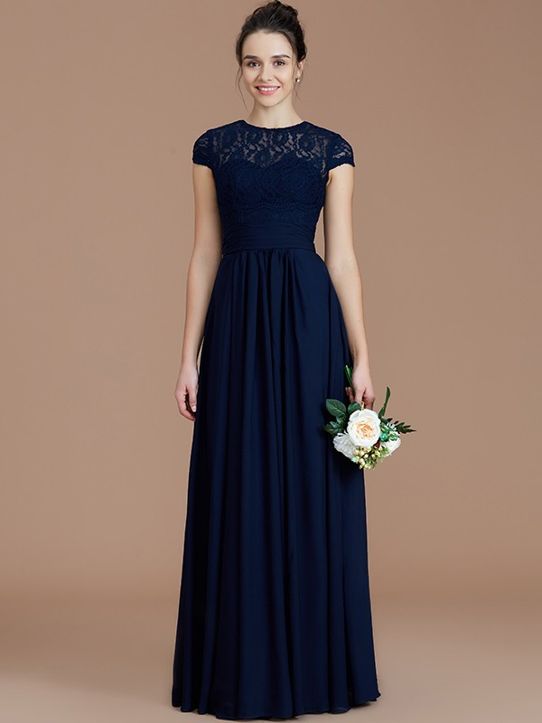 Fancy A-Line Jewel Short Sleeves Lace Floor-Length Chiffon Bridesmaid Dress