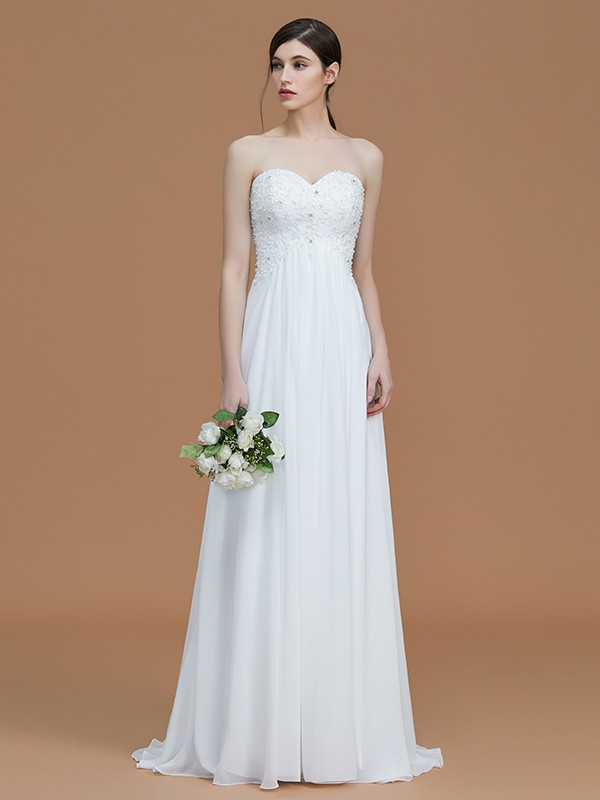 Cheap A-Line Sweetheart Sleeveless Sweep/Brush Train Chiffon Bridesmaid Dress