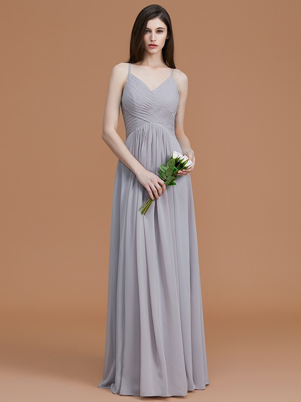 Chic A-Line Spaghetti Straps Sleeveless Floor-Length Chiffon Bridesmaid Dress