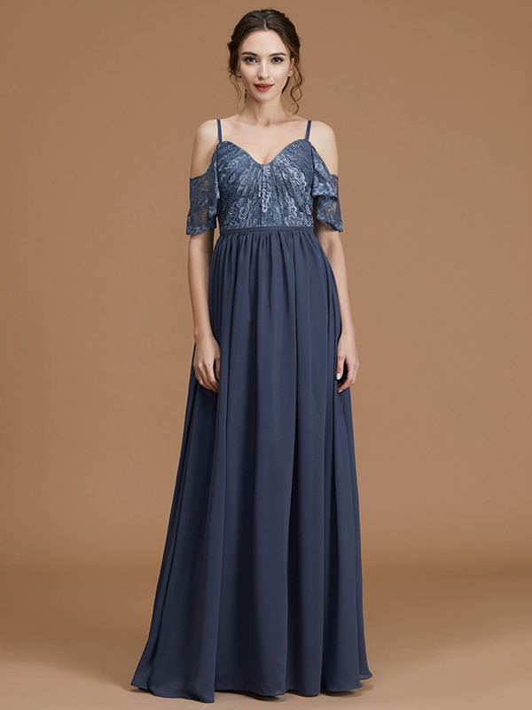 Beautiful A-Line Spaghetti Straps Sleeveless Floor-Length Chiffon Bridesmaid Dress