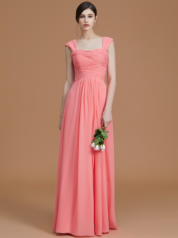 Beautiful A-Line Sweetheart Sleeveless Floor-Length Chiffon Bridesmaid Dress