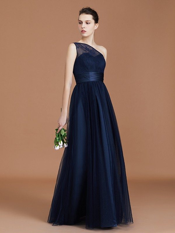 Beautiful A-Line One-Shoulder Lace Tulle Sleeveless Floor-Length Bridesmaid Dress