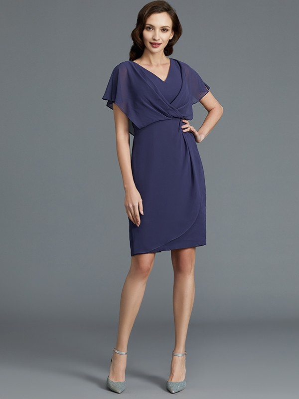 Gorgeous Sheath V-neck Short Sleeves Chiffon Knee-Length Mother of the Bride Dress