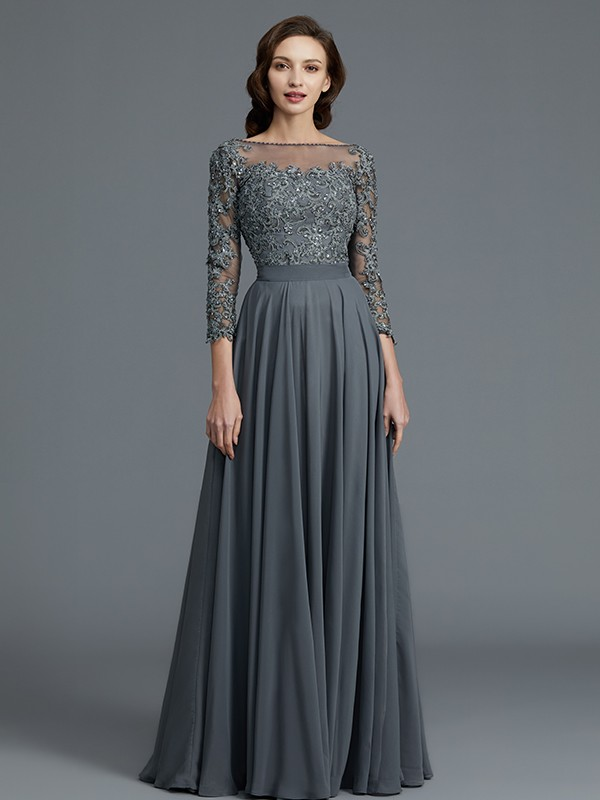 Gorgeous A-Line 3/4 Sleeves Bateau Floor-Length Chiffon Mother of the Bride Dress