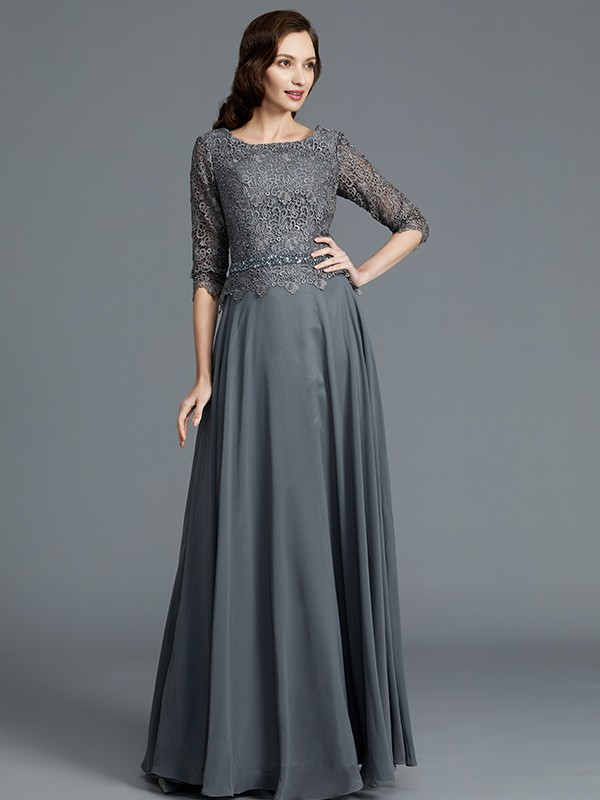 Gorgeous A-Line Scoop 1/2 Sleeves Chiffon Floor-Length Mother of the Bride Dress