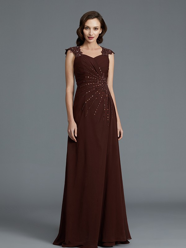 Gorgeous A-Line Sweetheart Sleeveless Chiffon Floor-Length Mother of the Bride Dress