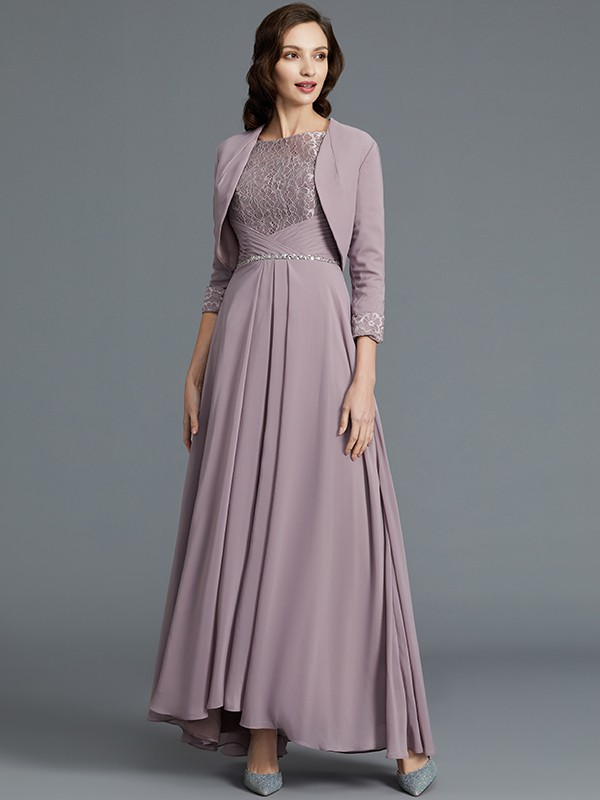 Gorgeous A-Line 1/2 Sleeves Scoop Asymmetrical Chiffon Mother of the Bride Dress
