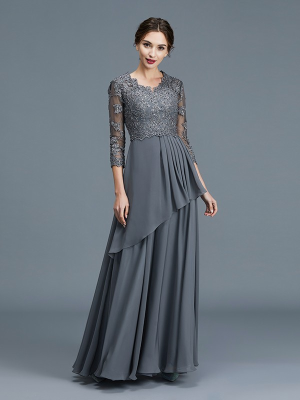 Unique A-Line V-neck 3/4 Sleeves Chiffon Floor-Length Mother of the Bride Dress