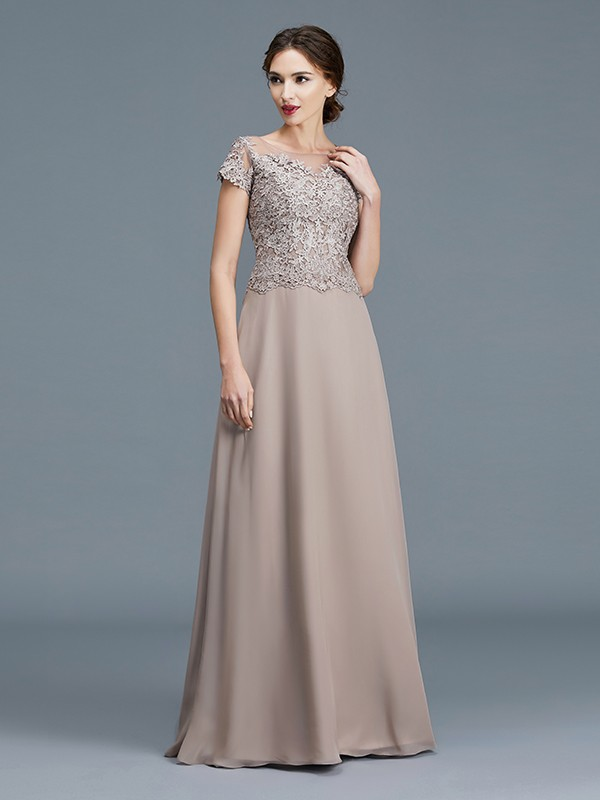 Unique A-Line Scoop Short Sleeves Floor-Length Chiffon Mother of the Bride Dress