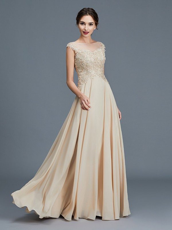 Unique A-Line Scoop Sleeveless Chiffon Floor-Length Mother of the Bride Dress