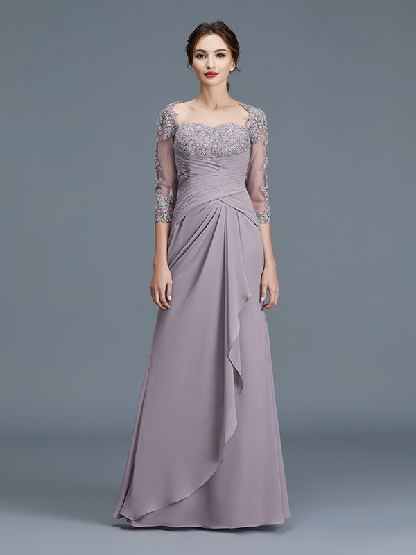 Unique Sheath 3/4 Sleeves Sweetheart Chiffon Floor-Length Mother of the Bride Dress