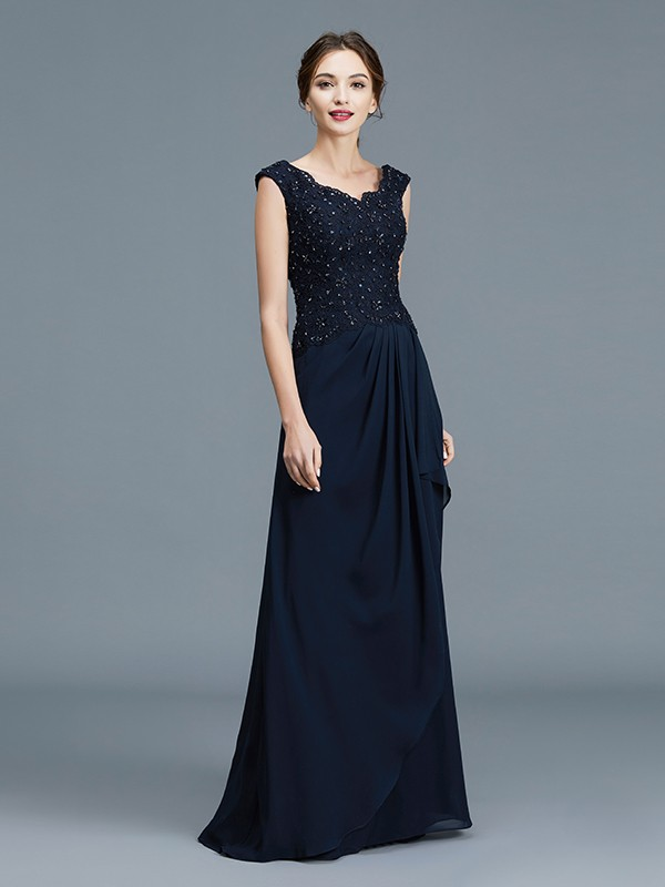 Unique A-Line V-neck Floor-Length Chiffon Sleeveless Mother of the Bride Dress