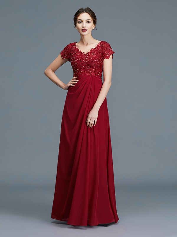 Unique A-Line V-neck Short Sleeves Chiffon Floor-Length Mother of the Bride Dress