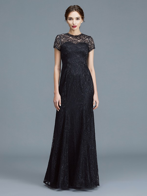 Unique Mermaid Scoop Short Sleeves Lace Floor-Length Mother of the Bride Dress