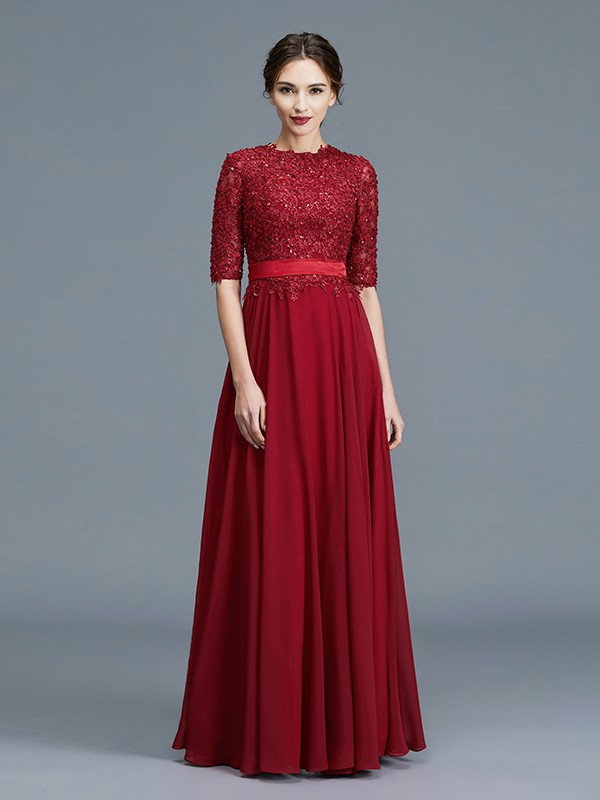 Unique A-Line Scoop 1/2 Sleeves Chiffon Floor-Length Mother of the Bride Dress
