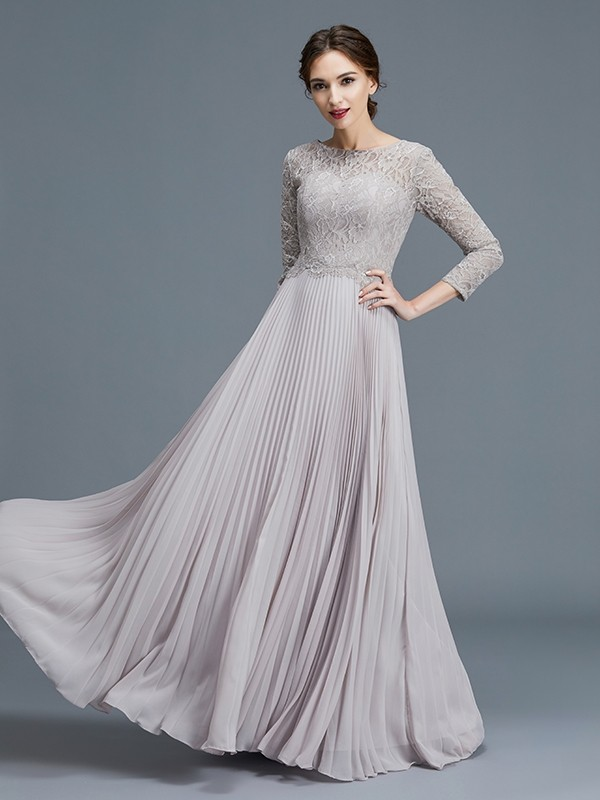 Unique A-Line Scoop 3/4 Sleeves Lace Chiffon Floor-Length Mother of the Bride Dress