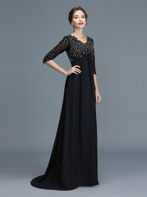 Unique A-Line V-neck 1/2 Sleeves Chiffon Floor-Length Mother of the Bride Dress