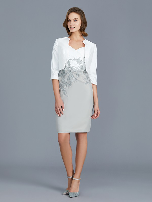 Nice Sheath V-neck 1/2 Sleeves Chiffon Knee-Length Mother of the Bride Dress