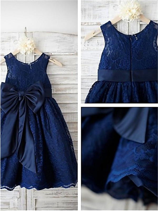 Charming A-line Scoop Tea-length Lace Flower Girl Dress