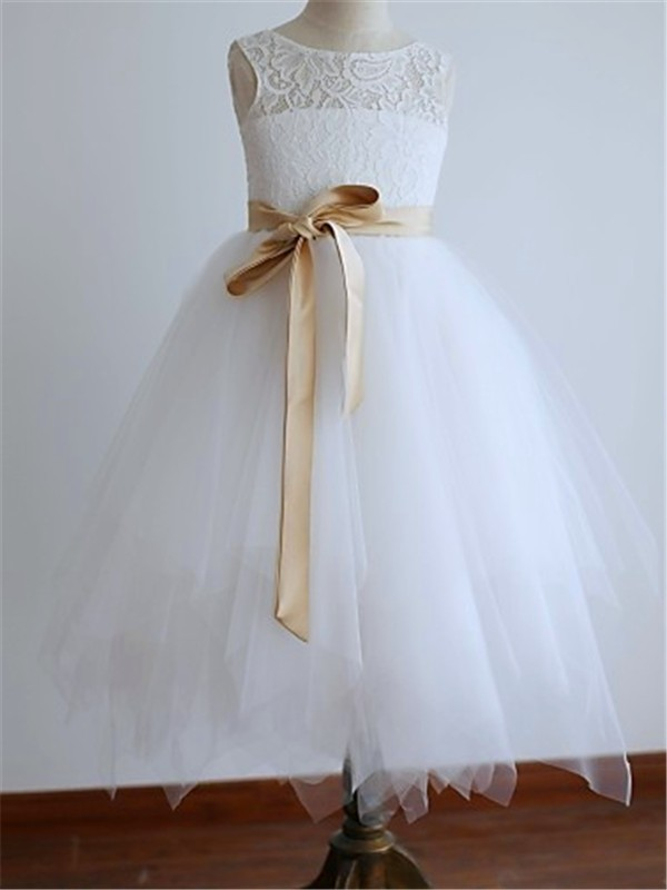 Cheap A-line Scoop Sleeveless Tea-Length Tulle Flower Girl Dress