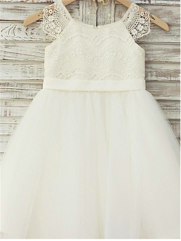 Amazing Princess Scoop Sleeveless Lace Tea-Length Tulle Flower Girl Dress