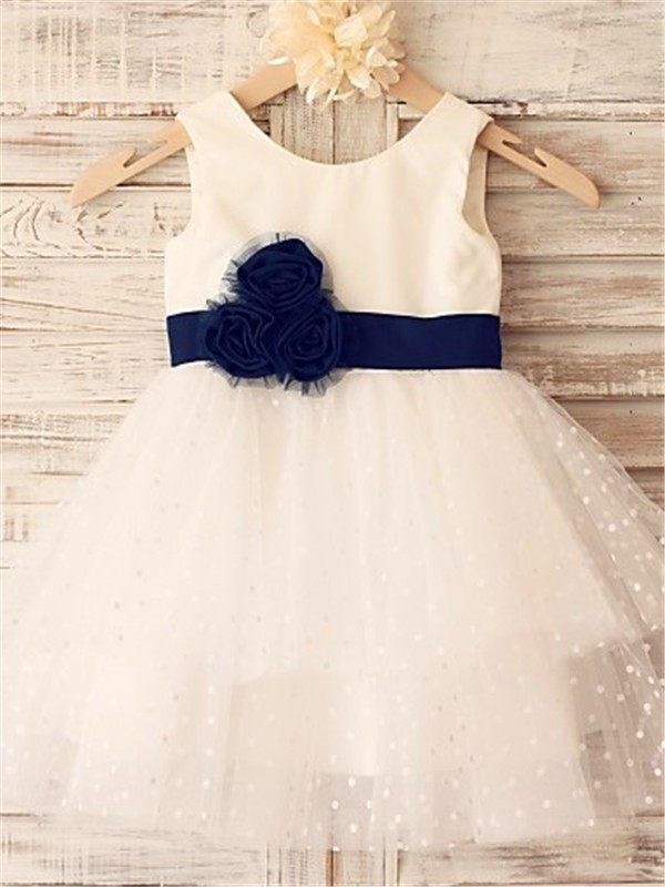 Perfect A-line Sleeveless Scoop Tea-Length Organza Flower Girl Dress