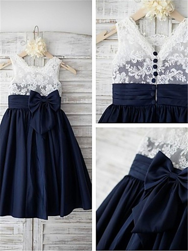Glamorous A-line Straps Sleeveless Tea-length Taffeta Flower Girl Dress