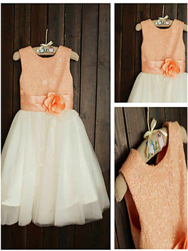 Affordable Princess Scoop Sleeveless Tea-Length Tulle Flower Girl Dress