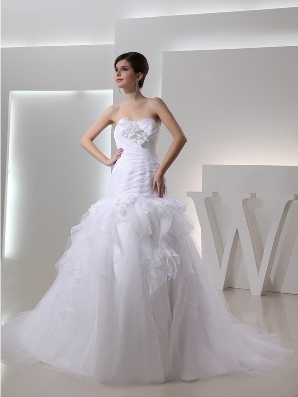 Modest Mermaid Sweetheart Sleeveless Organza Wedding Dress