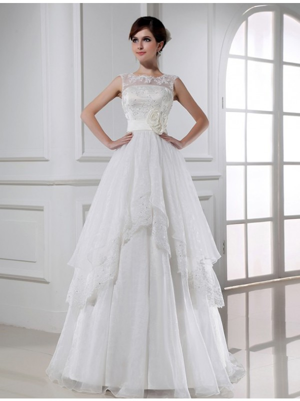 Beautiful A-Line Sleeveless Long Lace Organza Wedding Dress