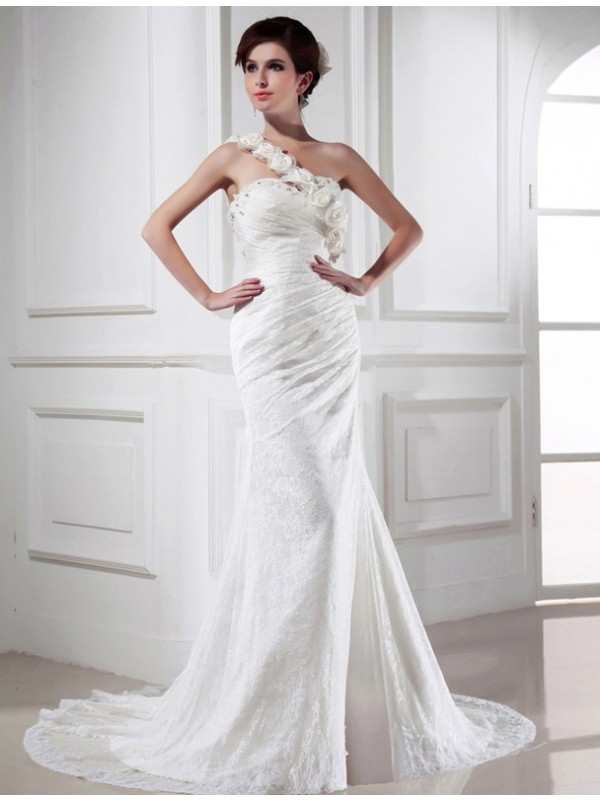 Beautiful Mermaid One-shoulder Sleeveless Lace Satin Long Wedding Dress