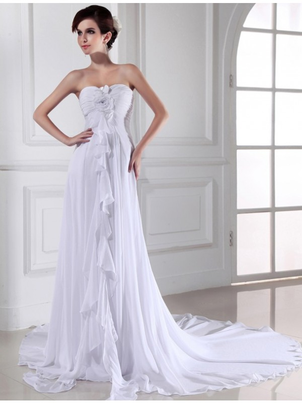 Beautiful Sheath Sweetheart Sleeveless Chiffon Long Wedding Dress