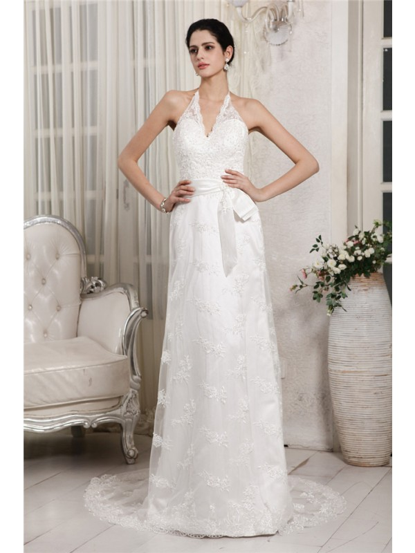 Beautiful Sheath V-neck Sleeveless Lace Long Net Wedding Dress