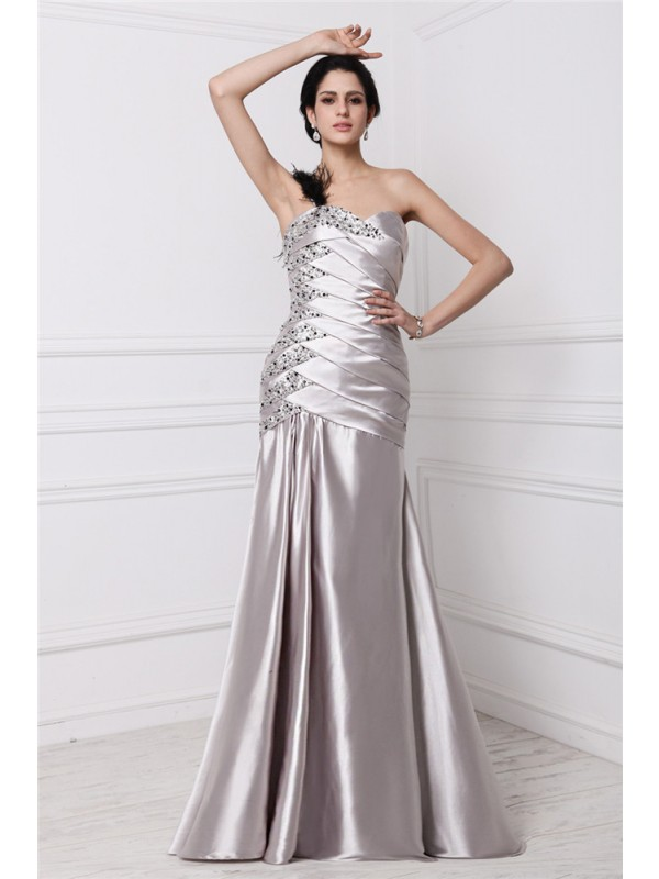 Modest A-Line Sweetheart Sleeveless Long Elastic Woven Satin Dress