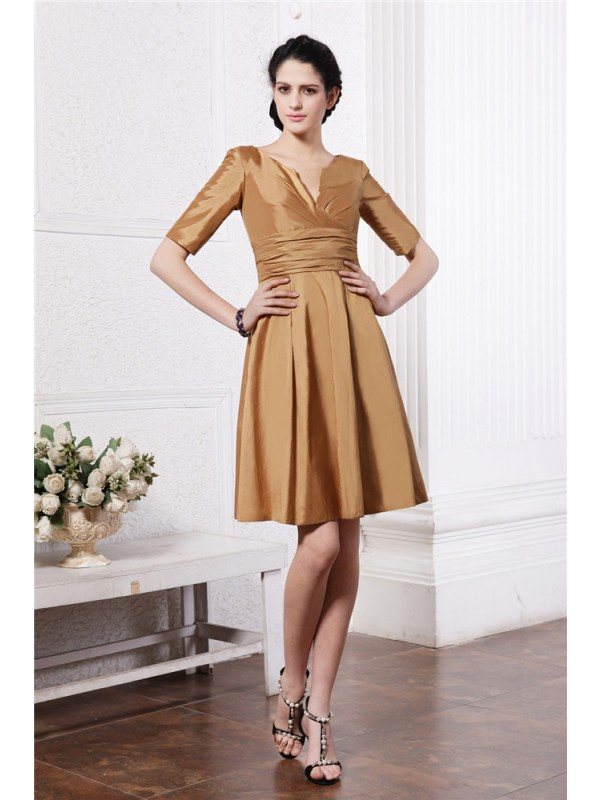 Gorgeous Sheath V-neck Half Sleeves Taffeta Bridesmaid Dress