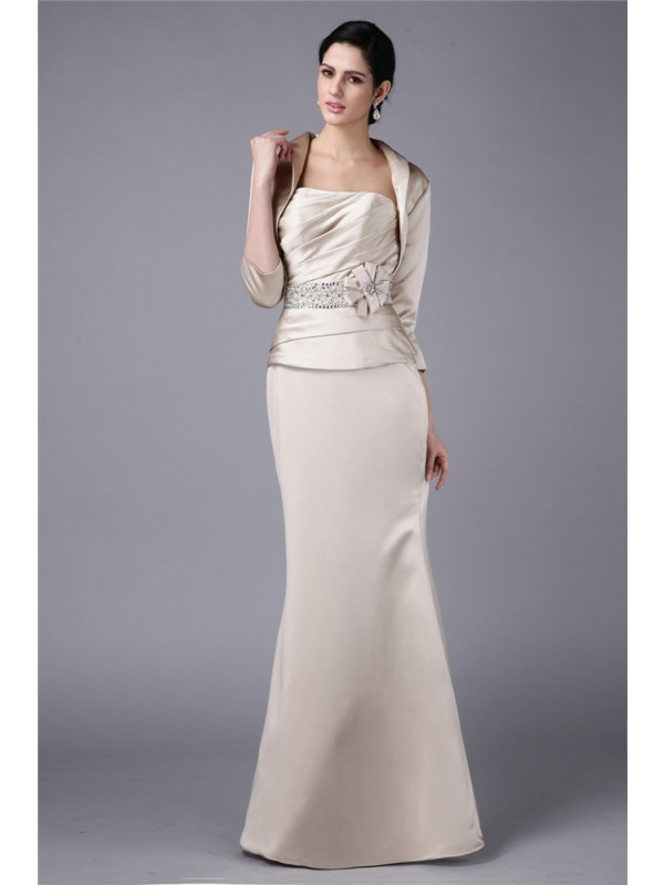 Hot Sale Sheath Strapless Elastic Woven Satin Mother of the Bride Dress