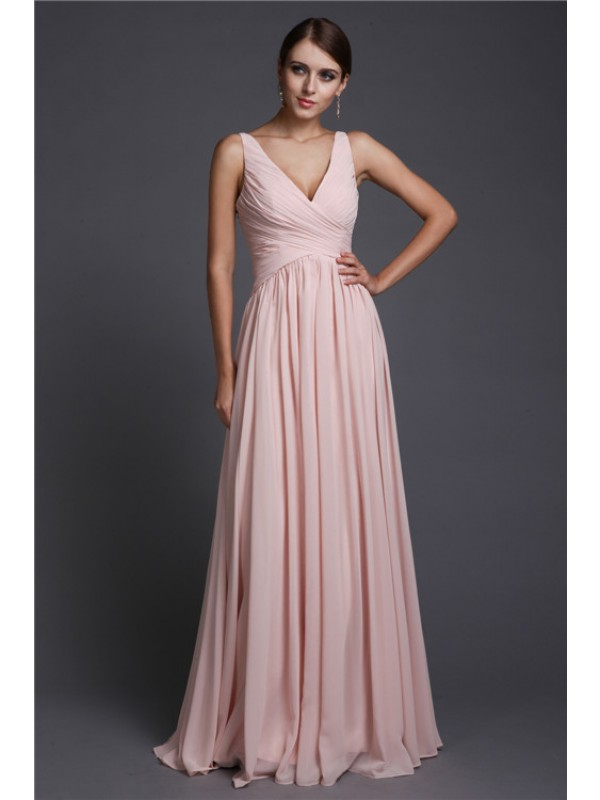 Gorgeous A-Line V-neck Sleeveless Long Chiffon Bridesmaid Dress