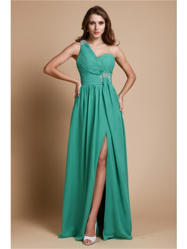 Modest A-Line One Shoulder Sleeveless Long Chiffon Dress
