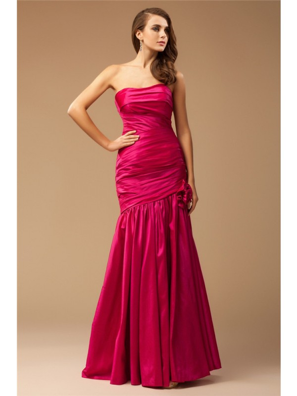 Modest Mermaid Strapless Sleeveless Long Taffeta Dress