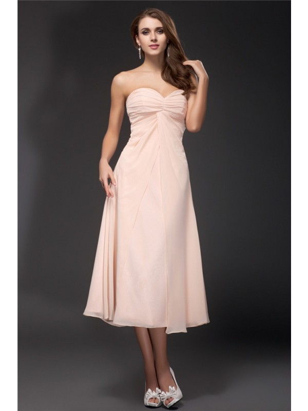 Gorgeous Sheath Sweetheart Sleeveless Tea Length Chiffon Bridesmaid Dress
