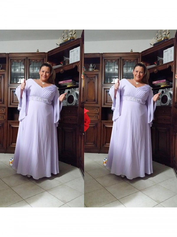 Fancy A-Line V-neck Long Sleeves Floor-Length Chiffon Mother Of The Bride Dress