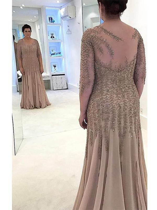 Fancy Sheath Sheer Neck Long Sleeves Floor-Length Chiffon Mother Of The Bride Dress