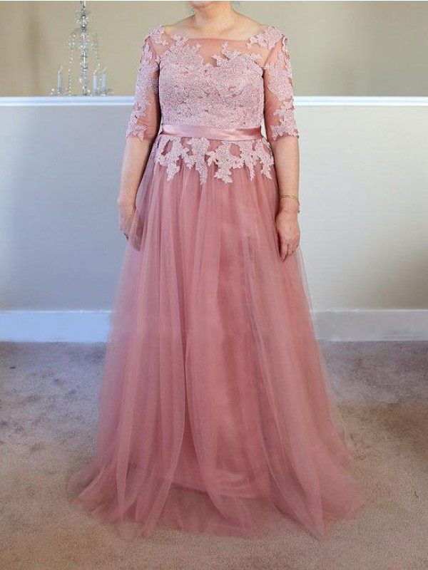 Fancy A-Line Bateau 1/2 Sleeves Floor-Length Tulle Mother Of The Bride Dress