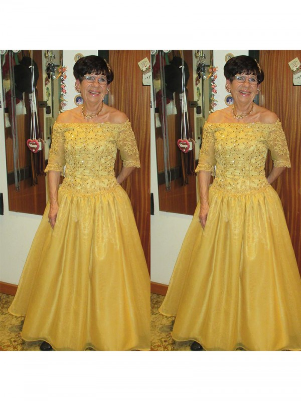 Classical A-Line Off-the-Shoulder 1/2 Sleeves Floor-Length Tulle Mother Of The Bride Dress