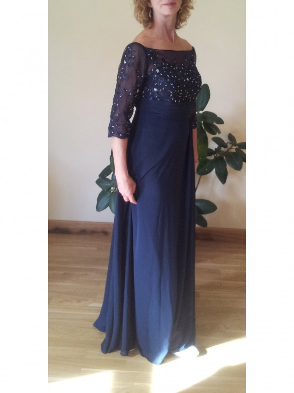 Classical A-Line Bateau 1/2 Sleeves Floor-Length Chiffon Mother Of The Bride Dress