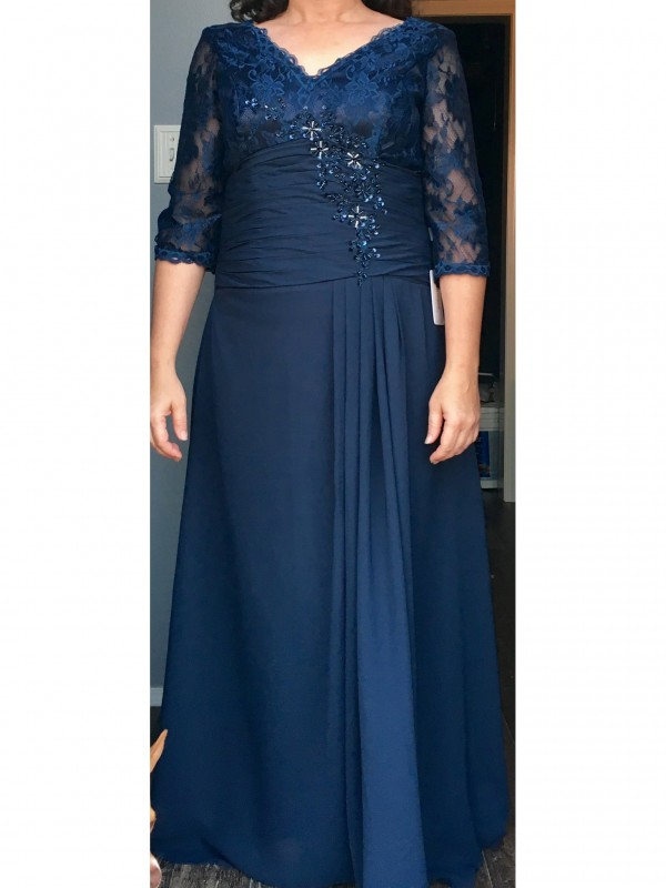Classical A-Line V-neck 1/2 Sleeves Floor-Length Chiffon Mother Of The Bride Dress