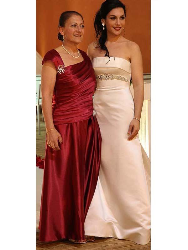 Classical Sheath Straps Sleeveless Floor-Length Satin Mother Of The Bride Dress
