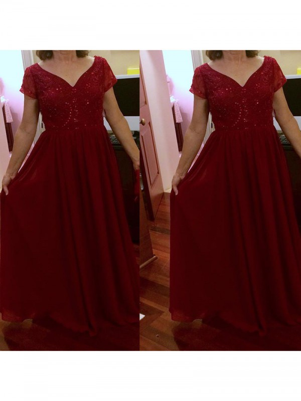 Fancy A-Line V-neck Short Sleeves Floor-Length Chiffon Mother Of The Bride Dress